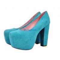 Free Calf down miles full leather platform high heel shoes-Blue_High shoes_Fashion shoes_Mili fashion Trade Co.Ltd