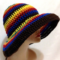 Multicolored Crochet Summer Hat, Beach Hat, Sun Hat.