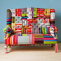 Striped Wing Back-patchwork sofa