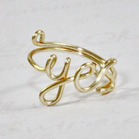 Gold Wire Yes Ring