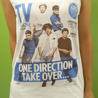 ONE DIRECTION - 1D TV Magazine Womens Tank Top Printed White T Shirt Boy Band Fan Light and Soft