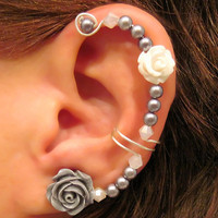 Non Pierced Ear Cuff  &quot;Forever Beautiful&quot; Cartilage Conch Cuff Silver tone Wedding Bridal Prom Quinceanera