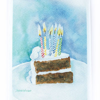 Birthday Cake Watercolor Birthday Card