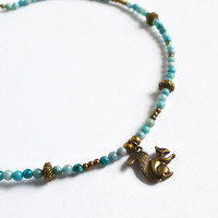 Squirrel Woodland Necklace. Squirrel Charm Blue Agate Necklace. Woodland Creatures. Fall Bead Jewelry.