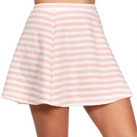 SALE-Blush/White Striped Skater Skirt