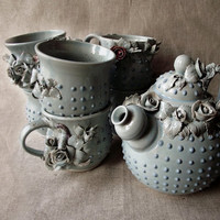Alice Stoneware tea service - A teapot and 6 cup