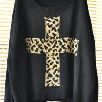 Leopard Cross Loose Sweater