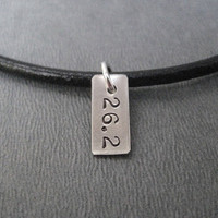 RUN Your DISTANCE Leather and Sterling Silver Necklace - 17 3/4 inch Necklace with Sterling Silver Charm - Choose 5k, 10k, 13.1 or 26.2