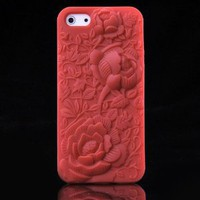 eFuture Red 3D Sculpture Rose Flower Silicone Soft Case Cover fit for the new Iphone5 5G +eFuture's nice Keyring