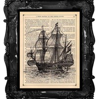 Galleon Ship vintage art print vintage dictionary by BlackBaroque