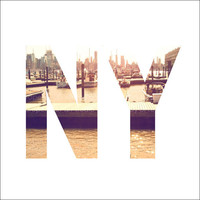 New Your City Skyline and Boats in NY Letters 1 - 8x8 Retro Square Metallic Art Photograph Print - Made by artstudio54 on ETSY