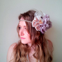 Bridal Headpiece, Headband, Boho, Wedding, Ivory / dusky lilac feather and flower Bridal piece - &#x27;Truffle Delight&#x27;