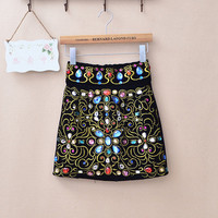 Embroidery inlaid colored Rhinestone high waist skirt  [142]