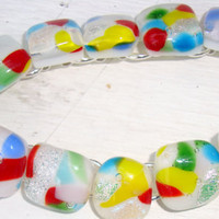 Fused glass bracelet in summer colours mothers by GeckoGlassDesign
