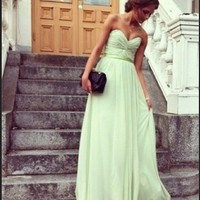 Chic Sage Sweetheart Floor Length Prom Dress/Graduation Dress