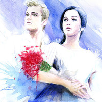 Watercolor painting - Hunger Games Katniss and Peeta