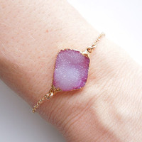 Druzy Bracelet in Light Peony Pink