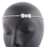 Ladies Silver with Clear Iced Out Bow Head Chain: Jewelry