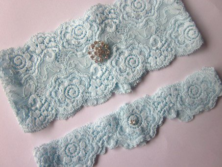 Bridal Garter Set- Simply Chic Something Blue Garter (including Toss Garter) on Luulla