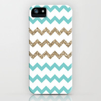 Blue and Gold Glitter Chevrons iPhone Case by PrintableWisdom | Society6
