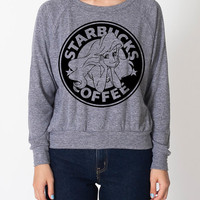 The Little Siren Lightweight Raglan Pullover Starbucks Parody The Little Mermaid Ariel - American Apparel Ladies Sizes S, M, L