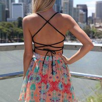 Black Criss Cross Back Dress with Multi Color Print Skirt