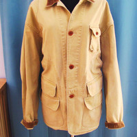 vintage Ralph Lauren Polo distressed khaki barn jacket. size XL utility jacket. fall fashion.