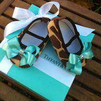 Tiffany &amp; Co Inspired Giraffe Infant Crib Shoes by RockkandyKids