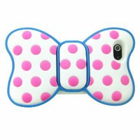 FiMeney Lovely 3d Butterfly Bowknot Back Soft Silicone Pink Dot Blue Outline Case Cover for Iphone 5 5g 5th