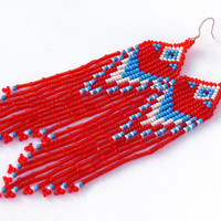 Native American Beaded Earrings Inspired. White Blue Red Earrings. Long Dangle Earrings. Beadwork.