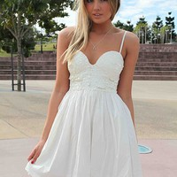 White Sleeveless Strappy Dress with Sequin Bodice Top
