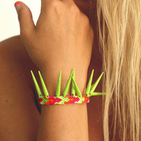 Lime Spikes Friendship Bracelet.