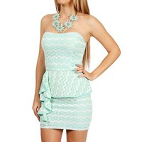 Mint/Ivory Ruffle Lace Peplum Dress