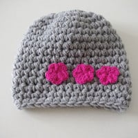 Baby   Beanie gray and hat pink  flower    Hat