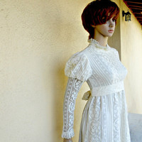 Pride and Prejudice Wedding Dress - Vintage Prom Dress - Vintage Lace Prairie Dress - 1960s Boho Gown - Maxi Dress - Small 6