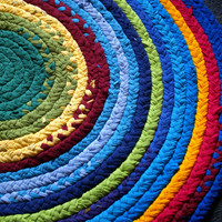 Rainbow Brightly Colored Rag Rug Handmade with recycled T shirt Jersey