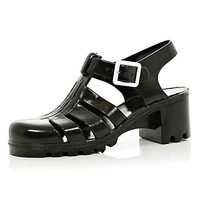 Black block heel JuJu jelly sandals  - sandals - shoes / boots - women