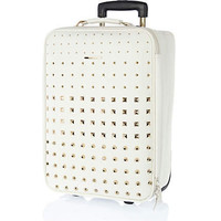 White multi studded wheelie suitcase - make up bags / luggage - bags / purses - women