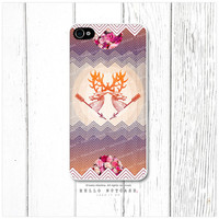 iPhone 4 and 4S case Geometric Chevron and Floral Pattern with Deer, Stag, Elk