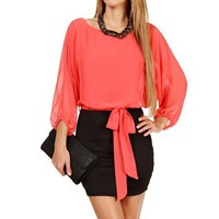 Coral/Black 2fer Dress