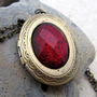 Handmade Gifts | Independent Design | Vintage Goods Ruby Sparkle Locket Necklace