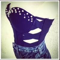 Black Studded Bustier Crop
