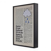 Raindrops Keep Falling - Original Framed Artwork On Vintage Book Page 