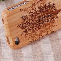 Unique Tree Natural Wood Wooden Handcraft Hard Cover Case for iPhone 4 4S 4G
