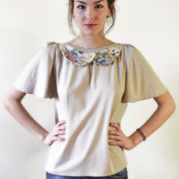 Open back beige blouse//floral collar// S,M,L