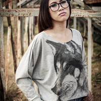 Wolf Grey Sweatshirt - Animal Sweater long sleeve women shirt wolf screenprinted on gray sweatshirt