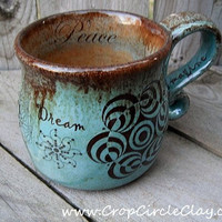 Sacred Geometry Pottery Mug Wheel Thrown by CropCircleClay
