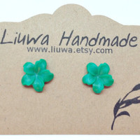 Jade Green Lily Earrings, Surgical Stainless Steel Posts, Emerald Green Flower Earrings