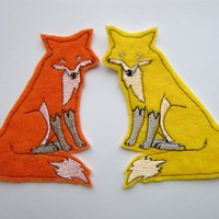 Iron On Patch Pair of Orange and Yellow Foxes Appliques
