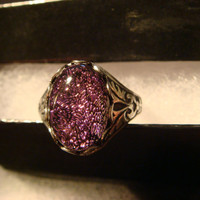 Victorian Style Dichroic Glass Antique Silver Ring- Adjustable (1054)